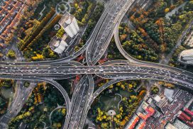 A busy network of motorways in Shanghai, China